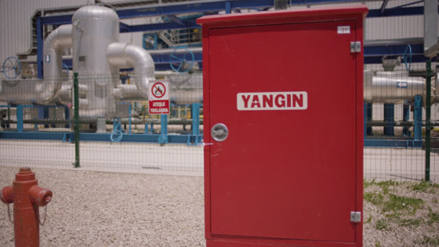 safety signs - danger, warning and caution labels - fire cabinet,  fire hydrant and fire hose - safety equipment stock videos & royalty-free footage