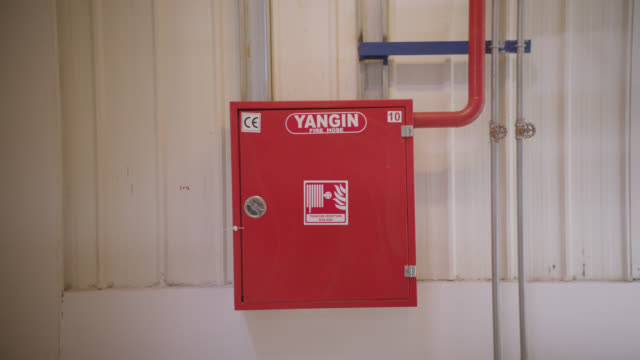 safety signs - danger, warning and caution labels - fire cabinet - safety equipment stock videos & royalty-free footage