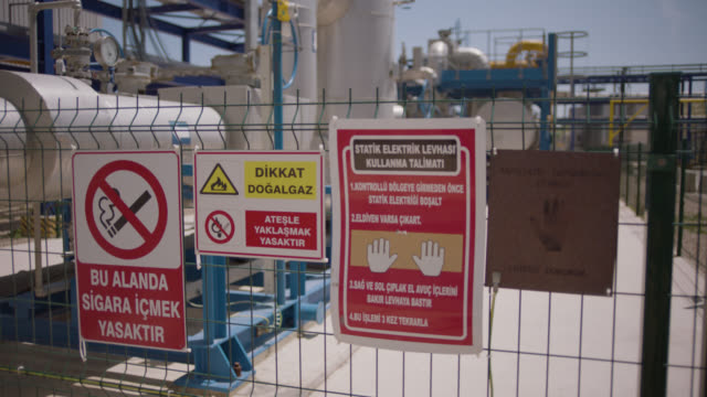 safety signs - danger, warning and caution labels - no smoking - static electricity plate - safety equipment stock videos & royalty-free footage