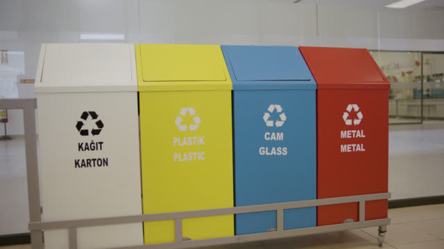 safety signs - danger, warning and caution labels - recycling bins - hazardous area sign stock videos & royalty-free footage