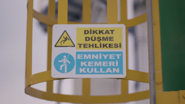 safety signs - danger, warning and caution labels - safety harness - hazardous area sign stock videos & royalty-free footage
