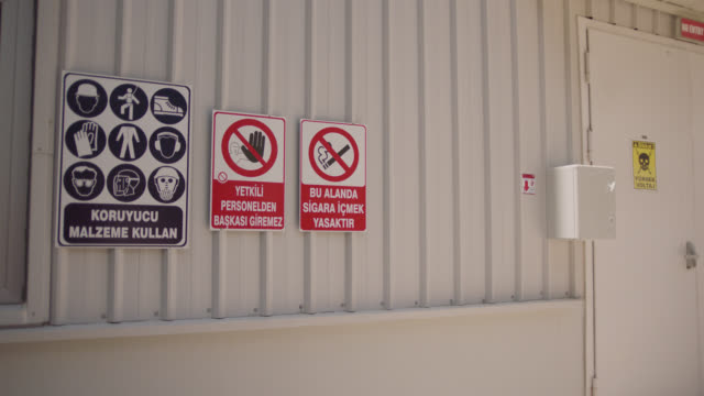 safety signs - danger, warning and caution labels - wearing protection required - authorized personnel - no smoking - no smoking sign stock videos & royalty-free footage