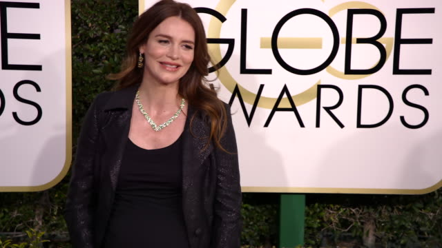saffron burrows at 74th annual golden globe awards arrivals at 74th annual golden globe awards arrivals at the beverly hilton hotel on january 08... - ビバリーヒルトンホテル点の映像素材/bロール