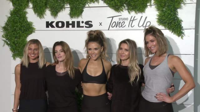 sage erickson ashley greene katrina scott audrina patridge karena dawn at behindthescenes at kohl's x studio tone it up workout event at barker... - kohls stock videos & royalty-free footage