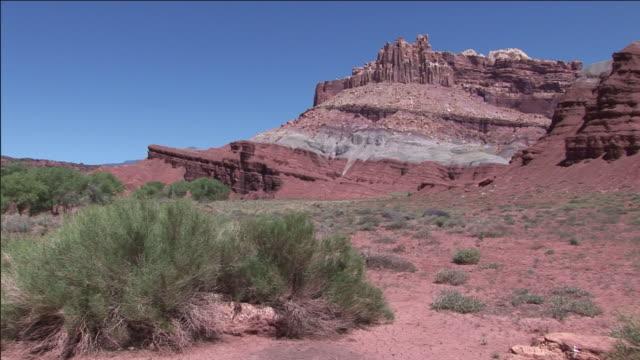 sagebrush grows in a pale red desert valley. - セージブラッシュ点の映像素材/bロール