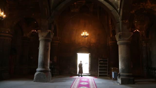 saghmosavank monastery, interior view of the church - apse stock videos & royalty-free footage