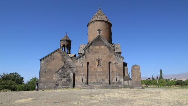 saghmosavank monastery, view of the eastern side of the church - circa 13th century stock videos & royalty-free footage