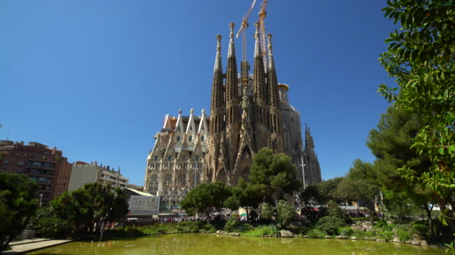 sagrada familia by day, realtime - unesco world heritage site stock videos & royalty-free footage