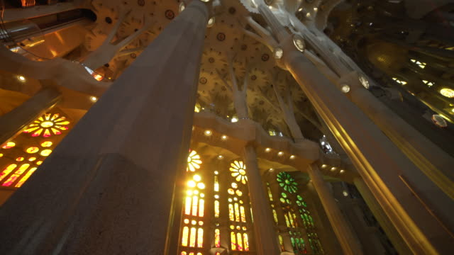 sagrada familia by gaudi indoors at barcelona - catholicism stock videos & royalty-free footage