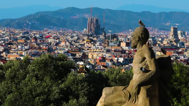 sagrada familia & city view, barcelona, spain - barcelona spain stock videos & royalty-free footage