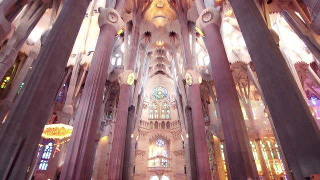sagrada familia interior, barcelona, spain - cathedral stock videos & royalty-free footage