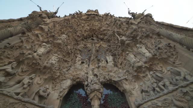 sagrada familia nativity facade by gaudi at barcelona - facade stock videos & royalty-free footage