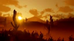 Saguaro Cactus in Desert against beautiful Morning Sun, panning
