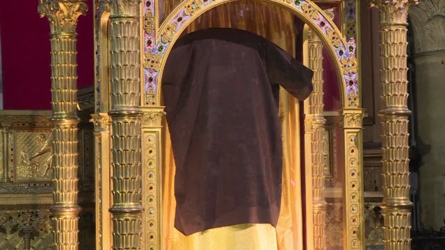 said to have been worn by jesus in the final hours before his crucifixion the holy tunic of christ was presented to worshippers on friday in... - tunic stock videos & royalty-free footage