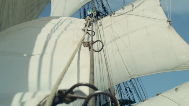 sail being hoisted on tall ship, grenada - ship stock videos & royalty-free footage