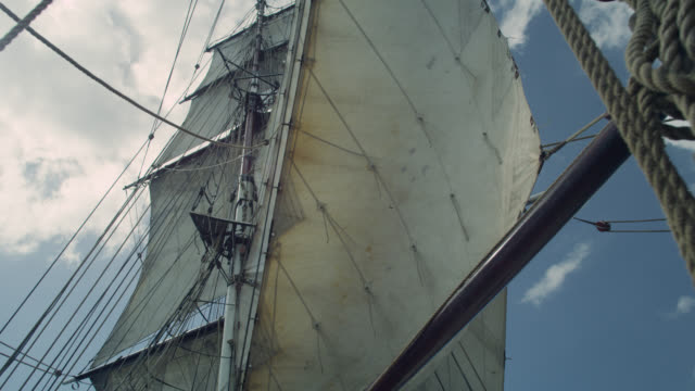 sail being hoisted on tall ship, grenada - sailing stock videos & royalty-free footage