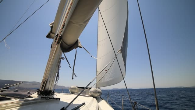 Sail boat in motion. Greece, Mediterranean
