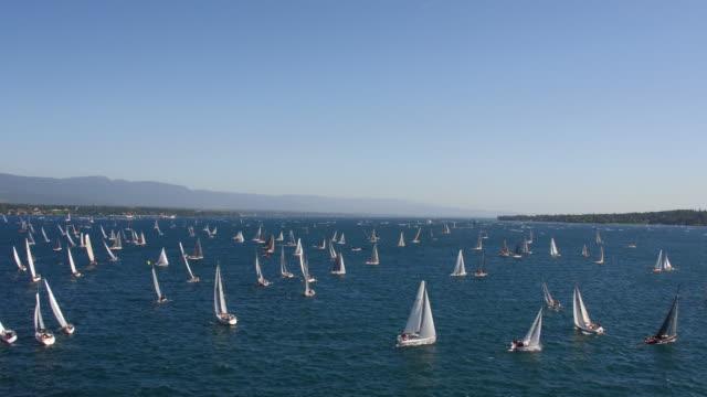sail boats on the lake geneva - sail stock videos & royalty-free footage