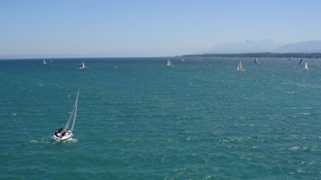 Sail boats on the Lake Geneva