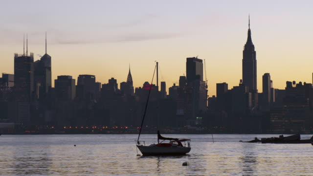 sailboat anchored in the hudson river - anchored stock videos & royalty-free footage