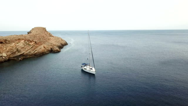 sailboat anchored in the mediterranean - anchored stock videos & royalty-free footage