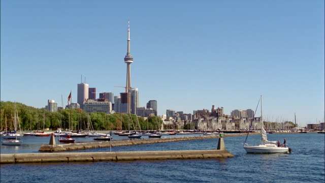 MS, Sailboat approaching to marina, CN Tower and city skyline in background, Toronto, Ontario, Canada