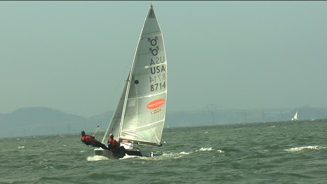 usa sailboat boat regatta yachting racing dingy - yachting stock videos & royalty-free footage