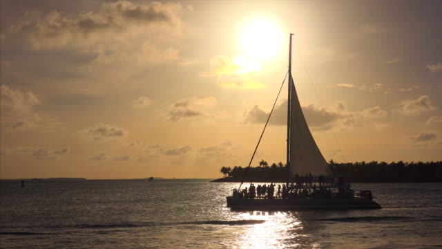 sailboat filled with tourists in key west, florida at sunset - key west stock videos & royalty-free footage