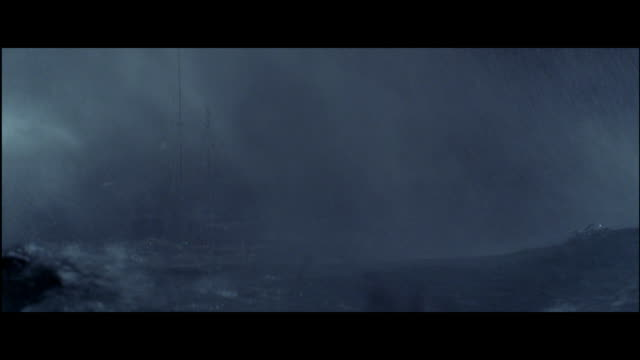 MS sailboat floating on sea in storm