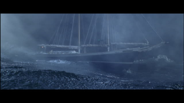 vídeos de stock, filmes e b-roll de ms sailboat floating on sea in storm - rough