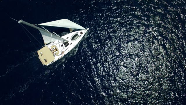 sailboat from above, shot from drone - vessel part stock videos & royalty-free footage