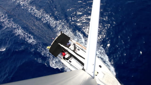 hd: sailboat from top of the mast - sailing boat stock videos and b-roll footage