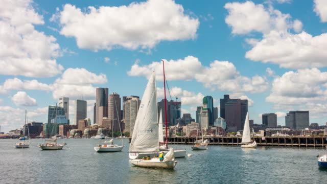 sailboat in boston harbor - boston massachusetts stock videos and b-roll footage