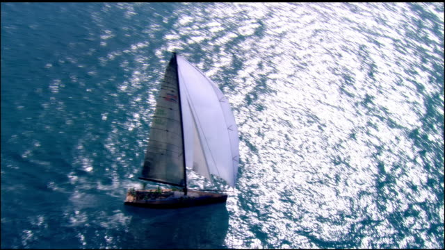 LOW AERIAL, Sailboat in ocean, Key West, Florida, USA