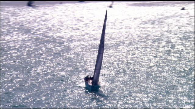 LOW AERIAL, Sailboat in ocean, Key West, Florida, USA