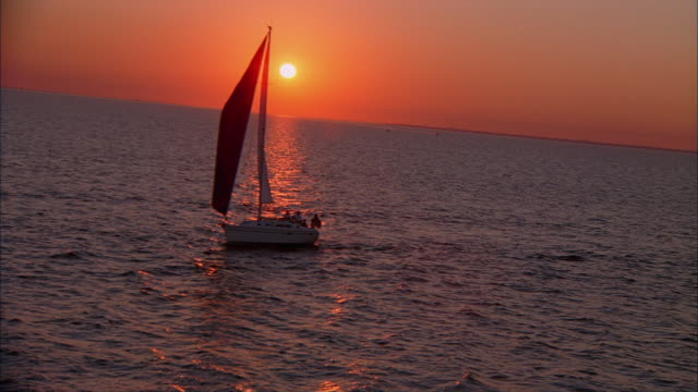 ws, ha, shaky, sailboat in tampa bay at sunset, florida, usa - sailing boat stock videos & royalty-free footage