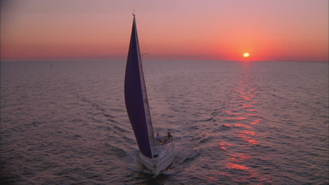 low aerial, sailboat in tampa bay at sunset, florida, usa - sailing boat stock videos and b-roll footage