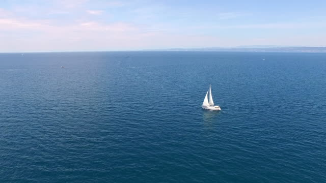 AERIAL Sailboat in the sea