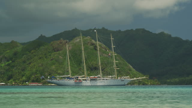 sailboat on the ocean - tahaa island stock videos & royalty-free footage