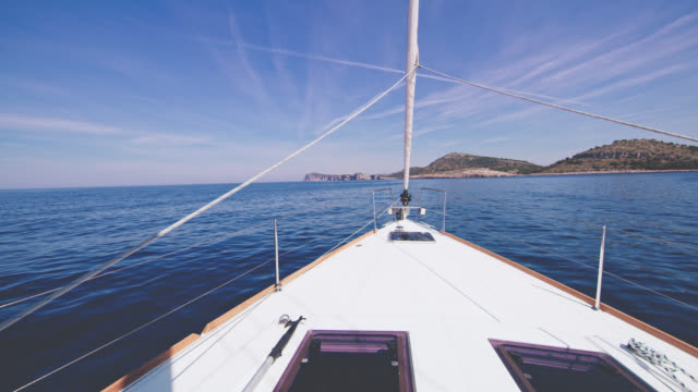 ws sailboat on the sea - approaching stock videos & royalty-free footage
