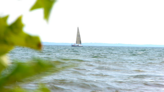 sailboat on the sound - connecticut stock videos & royalty-free footage