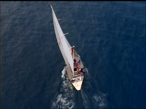 aerial sailboat on water / kinsale harbour, county cork, ireland - county cork stock videos & royalty-free footage