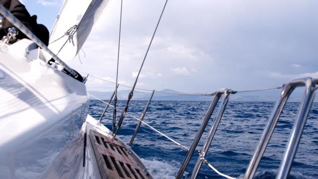 SLO MO Sailboat Sailing On Rough Sea