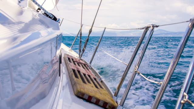 ms sailboat sailing on rough sea - regatta stock videos & royalty-free footage