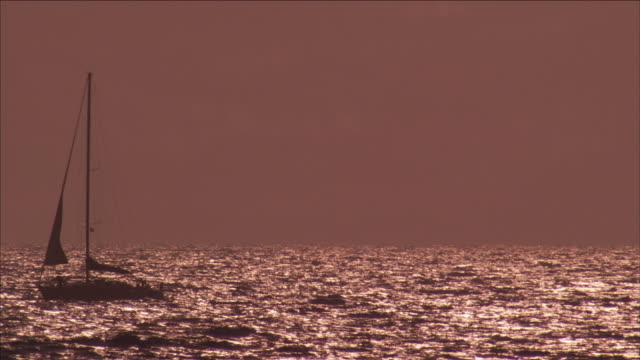 vídeos de stock, filmes e b-roll de a sailboat slowly cruises across glittering ocean waves. - passear sem destino
