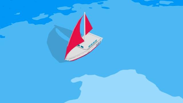 海の3dループ可能なアニメーションで揺れる帆船 - 投影図点の映像素材/bロール