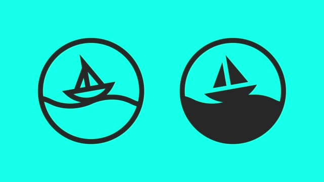 sailboat - vector animate - outline stock videos & royalty-free footage