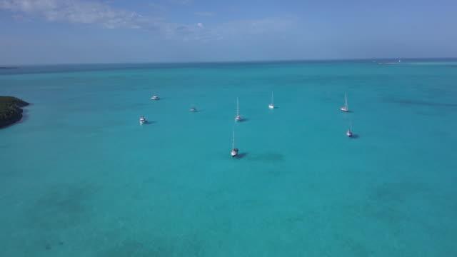 Sailboats at Anchor Aerial Exumas, Bahamas