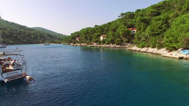 LUFTBILD Segelboote in der idyllischen Bucht