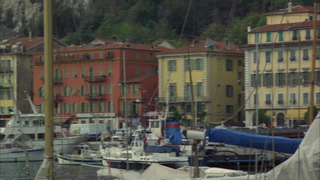 WS PAN Sailboats in marina, buildings in background / Nice, Provence-Alpes-Cote d'Azur, France